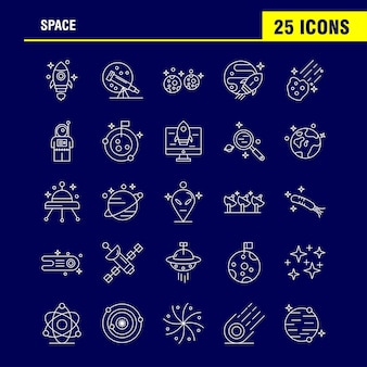 Space line icons set voor infographics, mobile ux / ui kit