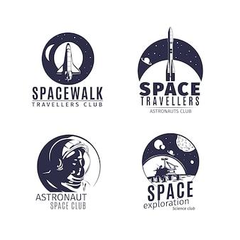 Space logo ingesteld in retro stijl