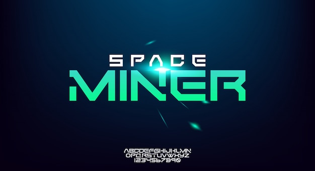 Space miner, een abstract alfabet van de technologiewetenschap. breed en gewaagd modern lettertype