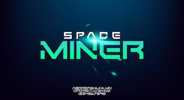 Space miner, een abstract alfabet van de technologiewetenschap. breed en gewaagd modern lettertype