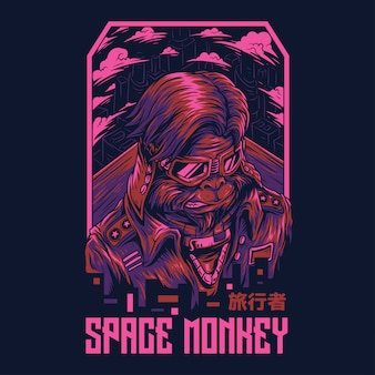Space monkey remastered illustration