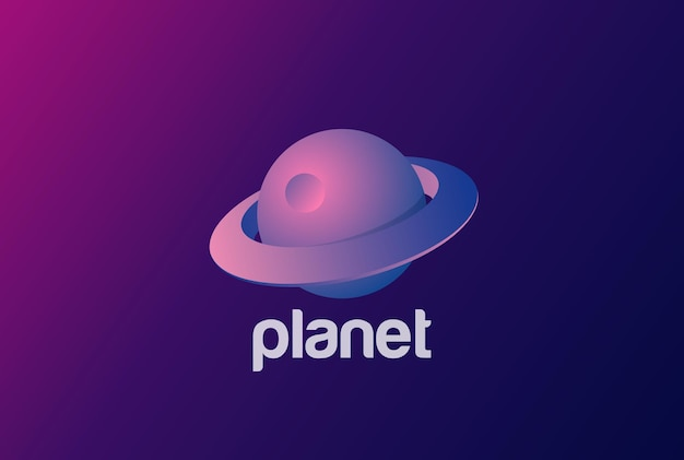 Space planet saturnus logo abstract ontwerp. 3d ultraviolet-stijl.