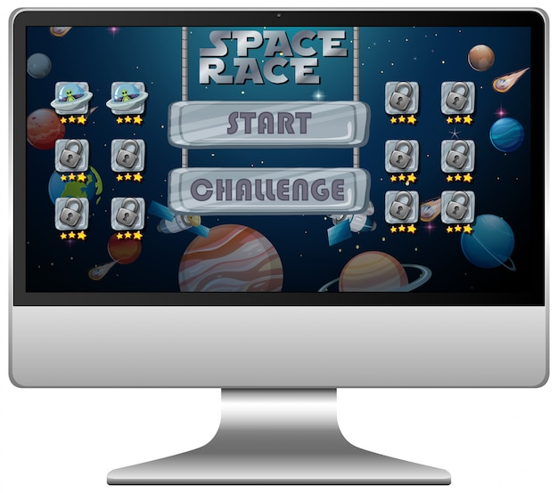 Space race missie spel op computerscherm
