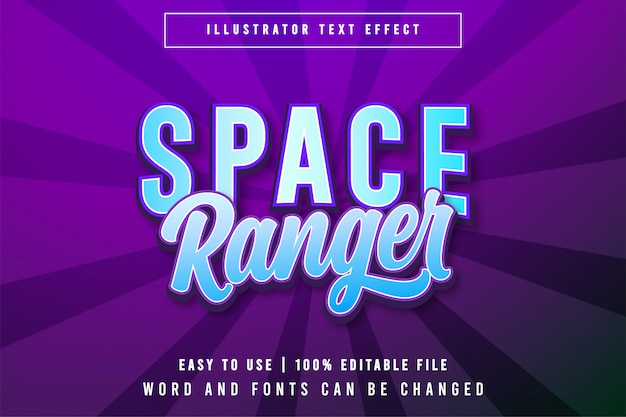 Space ranger bewerkbare gametitel stijl teksteffect