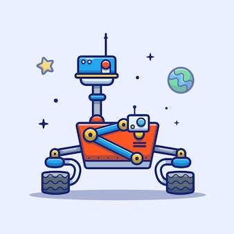 Space robot-pictogram. space robot, planet and stars, space icon white isolated
