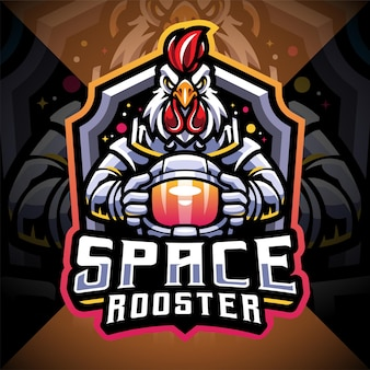Space rooster esport mascotte logo
