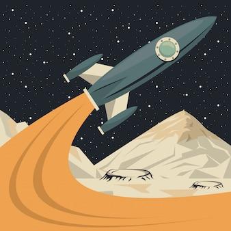 Space scene poster met raket opstarten