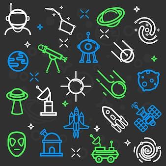 Space set van plat pictogrammen.