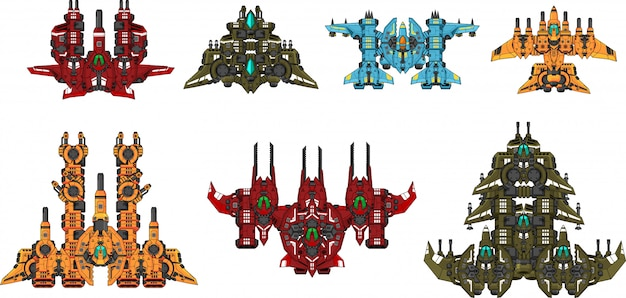 Space shooter game sprites