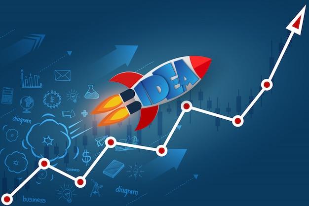 Space shuttle-lanceringen gaan naar het doel op de rode pijl