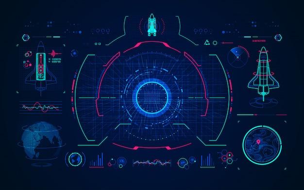 Space shuttle met digitale technologie-interface