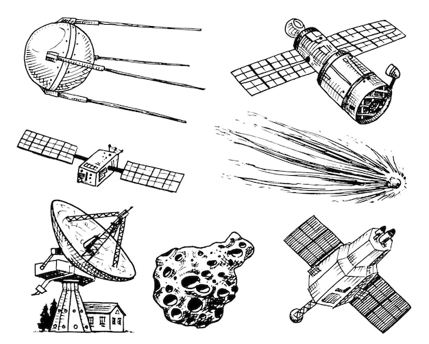 Space shuttle, radiotelescoop en komeet, asteroïde en meteoriet, verkenning van astronauten.