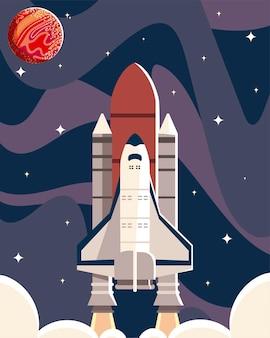 Space shuttle satelliet verkennen avontuurlijke reizen illustratie