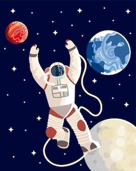 Space spaceman maan aarde planeet verkennen universum melkweg illustratie