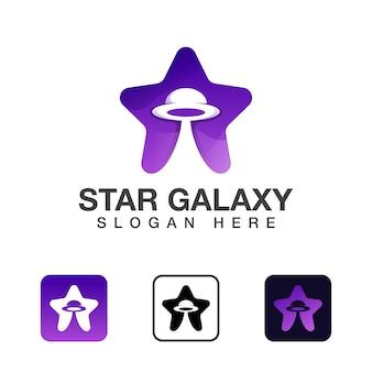 Space star-logo-ontwerp, logo voor mobiele apps klaar voor gebruik