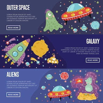 Space theme cartoon banners-sjablooncollectie