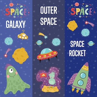 Space theme cartoon web banners collectie