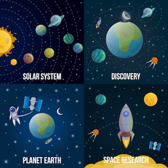 Space universe gekleurde set