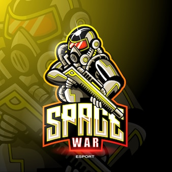 Space war mascotte voor gaming-logo.