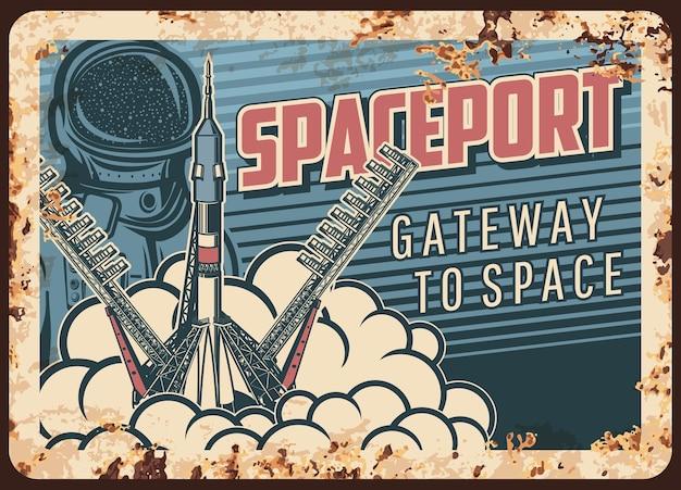 Spaceport roestige metalen plaat