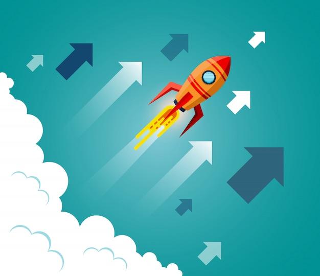 Spaceshuttle vliegt de lucht in terwijl hij boven een wolk vliegt
