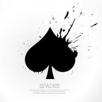Spades symbool met inkt splatter