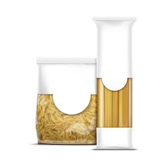Spaghetti en schelpen pasta verpakking sjabloon