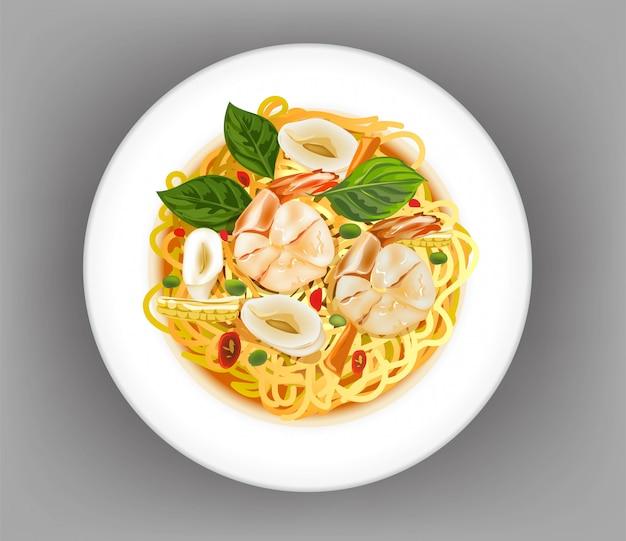Spaghetti met garnalen en inktvis