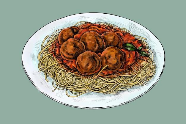 Spaghetti met gehaktballen tekening vector