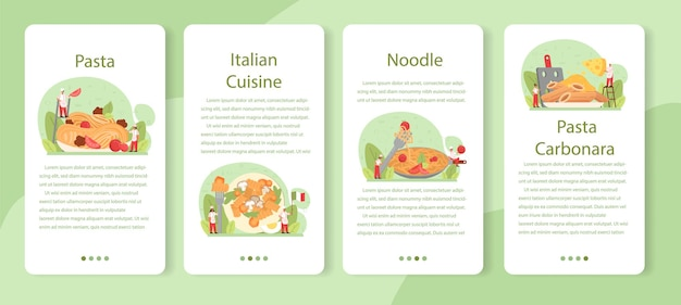 Spaghetti of pasta mobiele applicatie banner set. italiaans eten op de plaat. heerlijk diner, vleesgerecht. paddestoel, gehaktbal, tomateningrediënten.