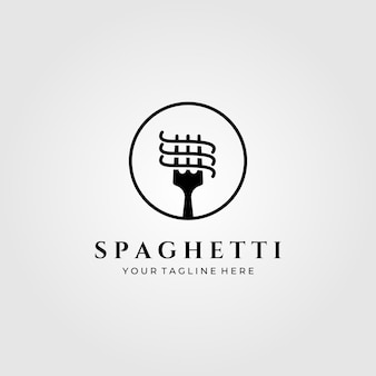 Spaghetti pasta logo minimalistische illustratie