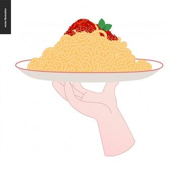 Spaghettis van het italiaanse restaurant