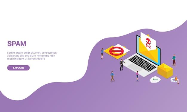 Spam nieuwsbrief e-mail concept voor website sjabloon of startpagina met isometrische moderne stijl