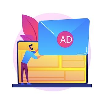 Spammen, e-mailspam. meisje stripfiguur krijgt ongevraagde, ongewenste elektronische berichten. reclame, messaging, commercieel, nieuwsbrief.
