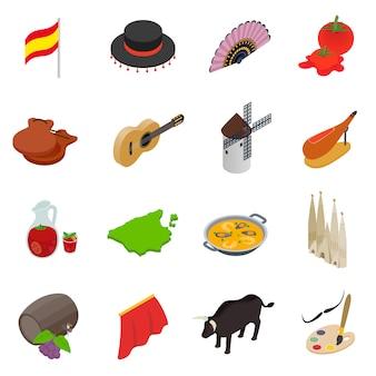 Spanje isometrische 3d-pictogrammen geïsoleerd op een witte achtergrond