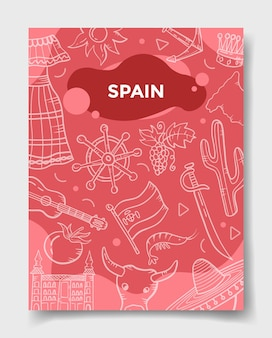 Spanje land natie met doodle stijl voor sjabloon van banners, flyer, boeken en tijdschriftomslag