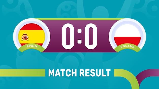 Spanje polen wedstrijdresultaat, europees voetbalkampioenschap 2020 illustratie.