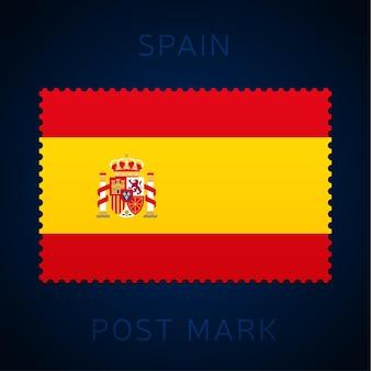 Spanje postzegel. nationale vlag postzegel geïsoleerd op een witte achtergrond vectorillustratie. stempel met officieel patroon van de landvlag en naam van het land