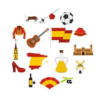 Spanje reizen set plat pictogrammen