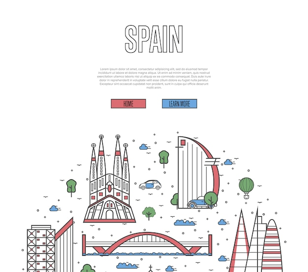 Spanje reizen tour sjabloon in lineaire stijl