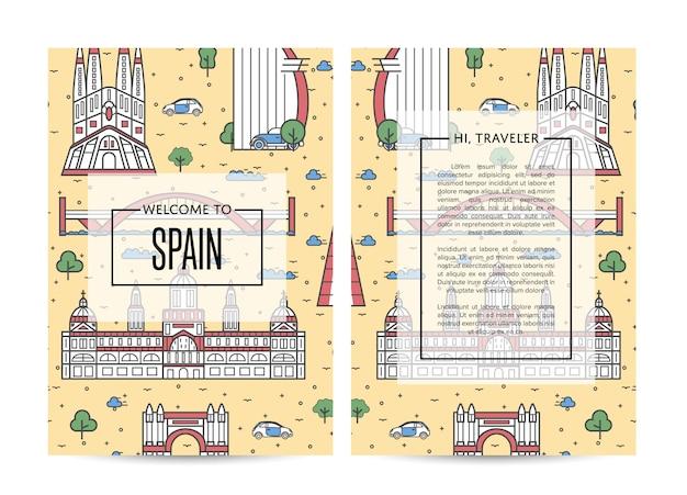 Spanje reizende brochure sjabloon ingesteld in lineaire stijl