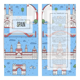 Spanje reizende flyers in lineaire stijl
