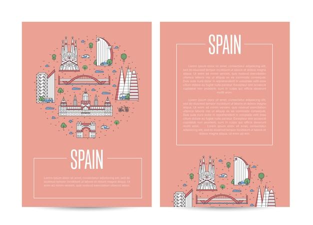 Spanje reizende reclame in lineaire stijl