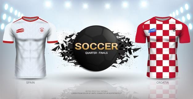 Spanje versus kroatië voetbal jersey sjabloon.