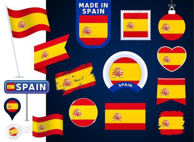 Spanje vlag vector collectie. grote reeks nationale vlagontwerpelementen in verschillende vormen voor openbare en nationale feestdagen in vlakke stijl. poststempel, gemaakt in, liefde, cirkel, verkeersbord, golf
