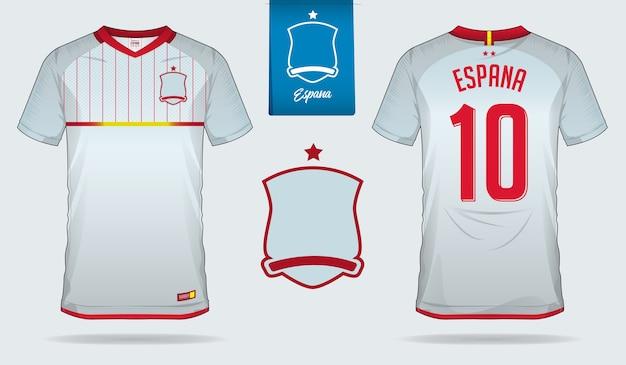 Spanje voetbal jersey of voetbal kit sjabloon