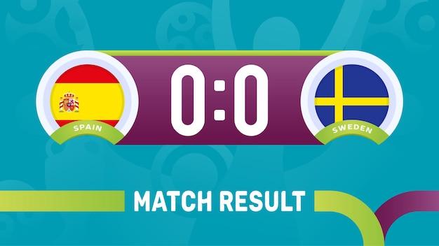 Spanje zweden wedstrijdresultaat, europees voetbalkampioenschap 2020 illustratie.