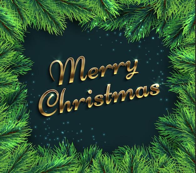 Spar takken. vrolijke kerstmisglamour met pijnboomtak en groettekst.