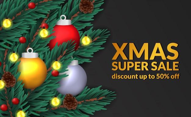 Spar verlaat garland kerst verkoop sjabloon voor spandoek