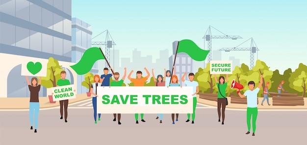Sparen bomen sociale protest platte vectorillustratie